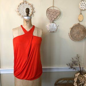 Missoni Orange Jersey High Neck Cross Tank Top T 2